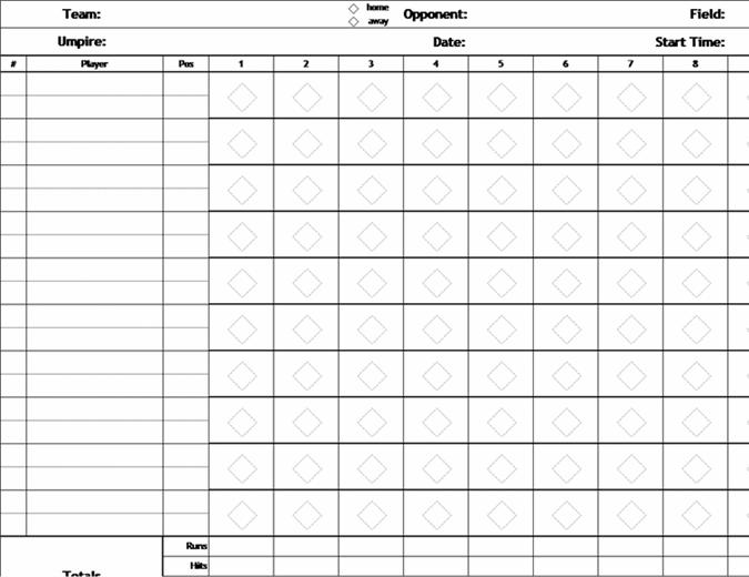 Fiche de score de baseball sans nombre de lancers