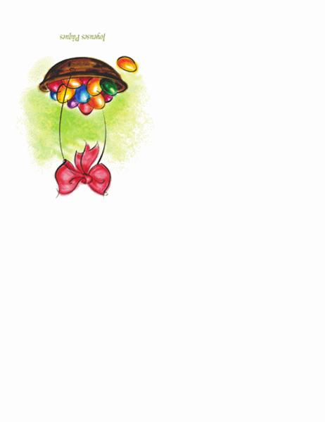 Carte pour Pâques (panier rempli d'oeufs en illustration)