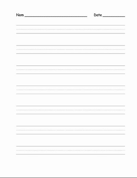 Feuille avec lignage pour apprendre à écriture (niveau moyen)