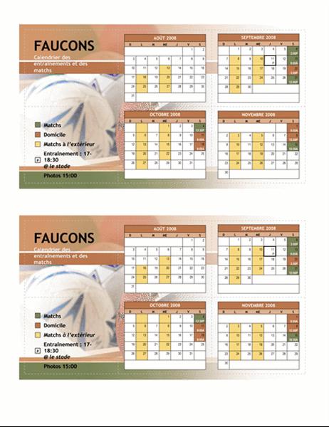Calendrier de poche 2008 pour activités sportives (automne)