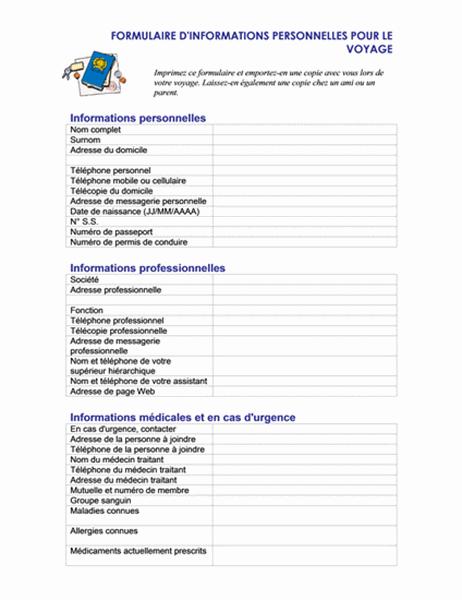 Formulaire d'informations personnelles pour les déplacements
