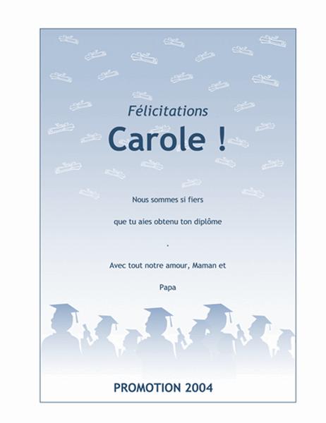 Carte de félicitations pour un diplômé