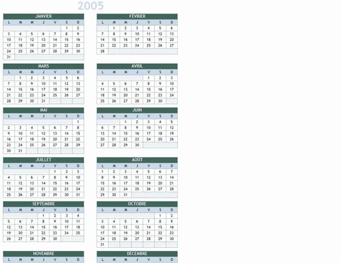 Calendrier annuel2005-2014 (Lun-Dim)