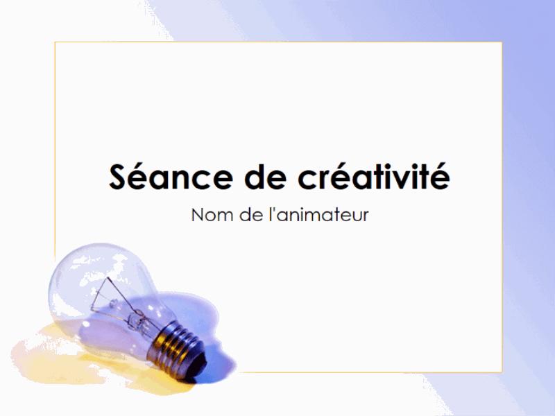 Présentation de la séance de créativité