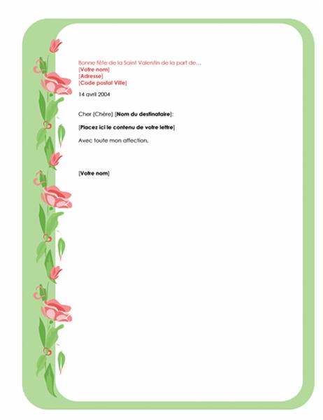 Papier à lettre Saint Valentin