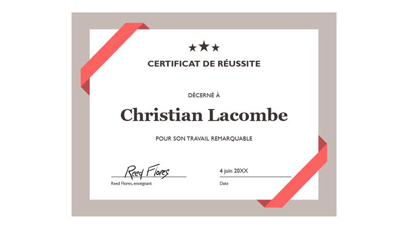 Certificat de réussite (bordure bleue officielle)