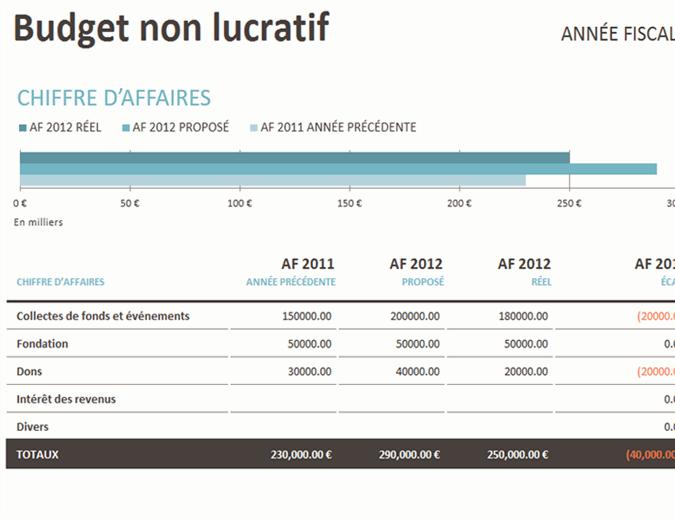 Budget des opérations sans but lucratif/collectes de fonds