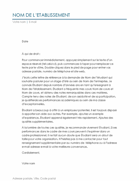 Lettre de référence pour enseignant