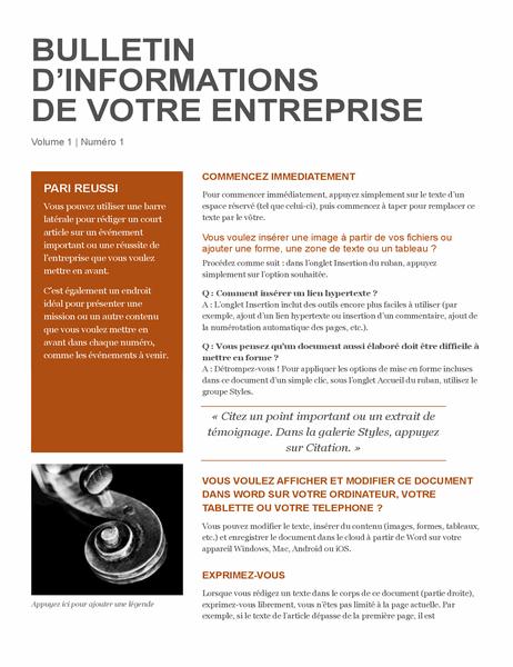 Bulletin d'information des entreprises