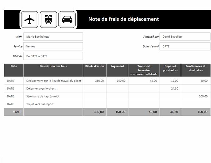 Note de frais de déplacement