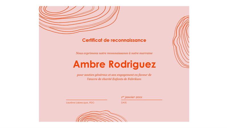 Certificat de reconnaissance envers un parrain