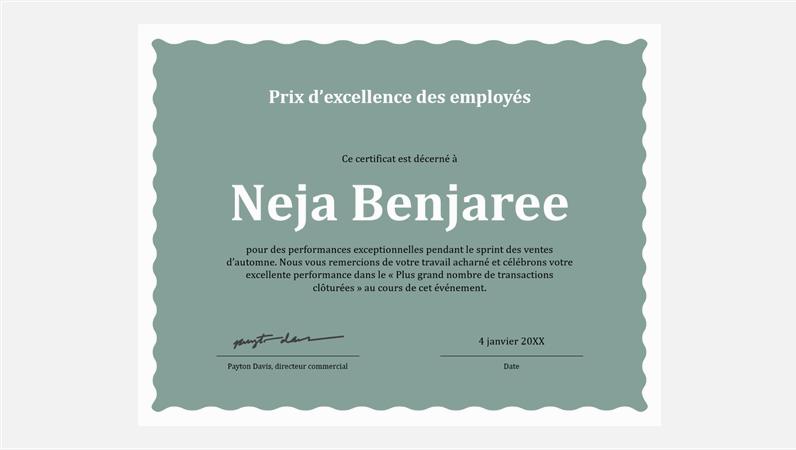 Certificat d'excellence pour employé