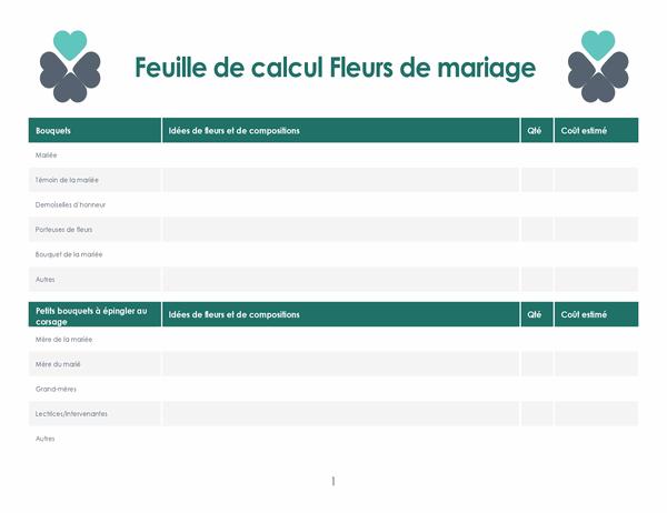 Planificateur de fleurs de mariage (4 pages)