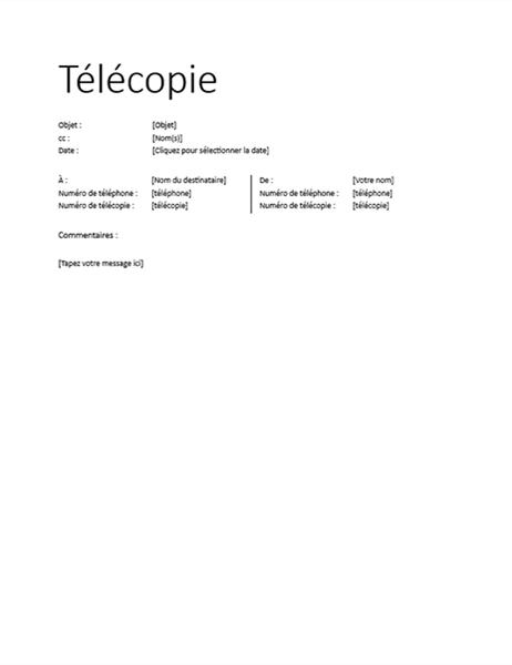 Page de garde de télécopie (informelle)