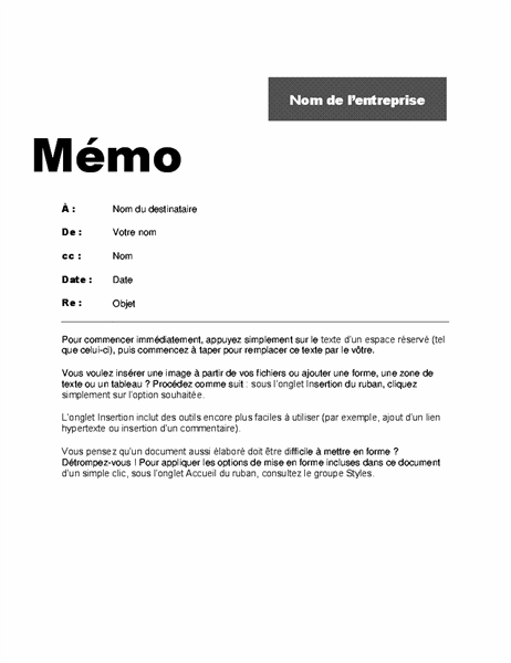 Mémo interne (conception professionnelle)