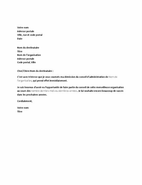 Lettre de démission du conseil d'administration