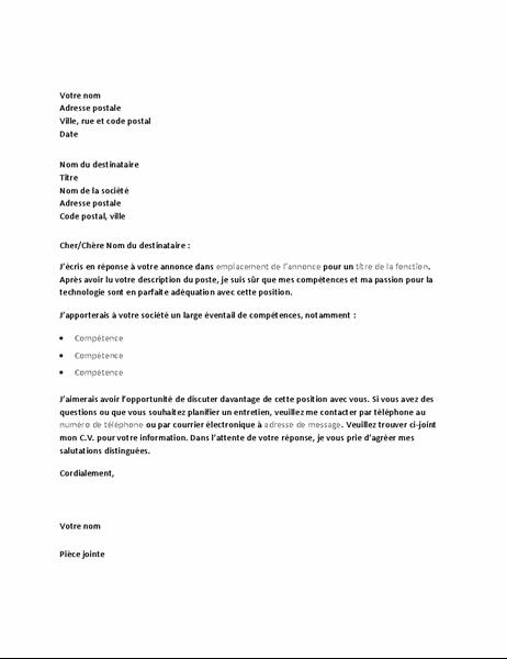 Exemple de lettre de motivation en réponse à une offre d'emploi technique