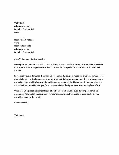 Lettre de remerciement d'ancien responsable suite à une référence pour une candidature réussie