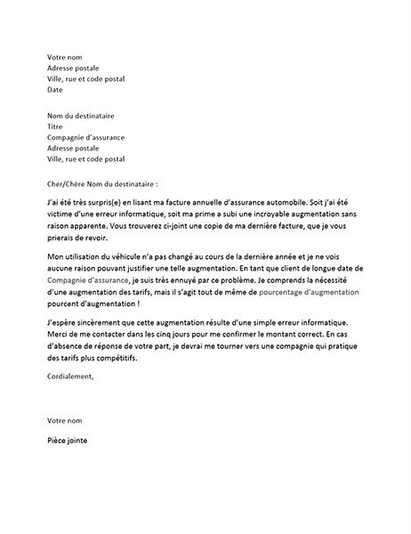 Lettre de contestation d'augmentation de la prime d'assurance