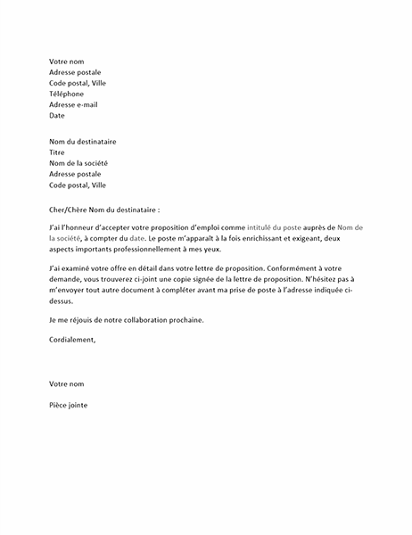 Lettre d'acceptation de proposition d'emploi