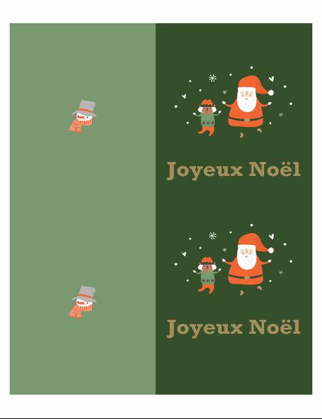 Cartes de Noël (conception Esprit de Noël, 2 par page, pour papier Avery)
