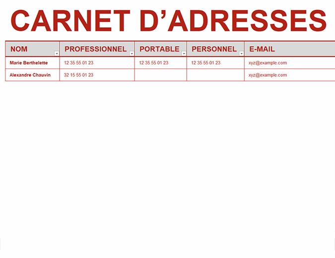 Carnet d'adresses personnel