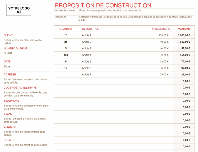 Proposition de construction