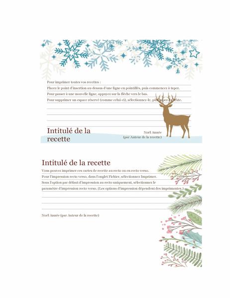 Cartes de recettes (conception Esprit de Noël, 2 par page, pour support Avery 5889)