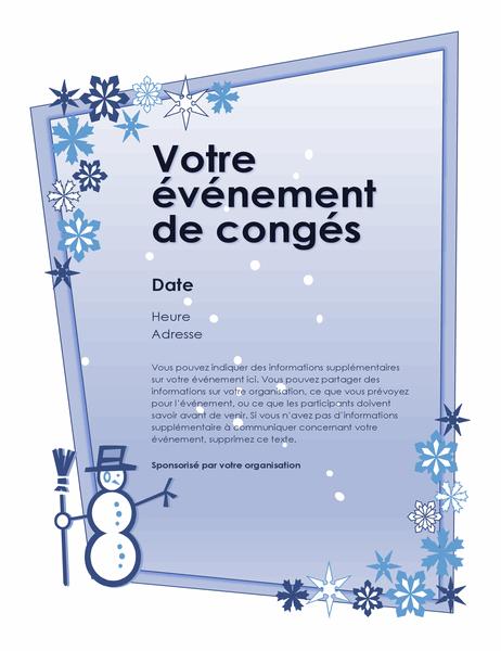 Prospectus annonçant un événement prévu pour les vacances d'hiver