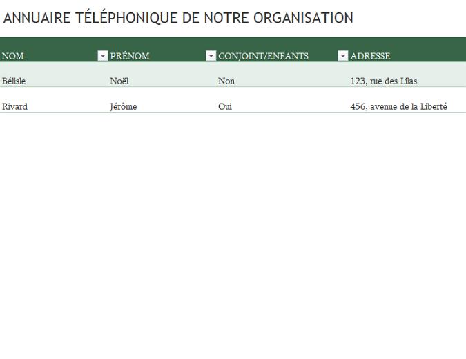 Liste téléphonique des employés
