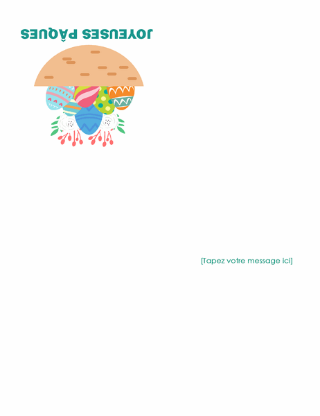 Carte de Pâques (avec œufs, pliable en quatre)