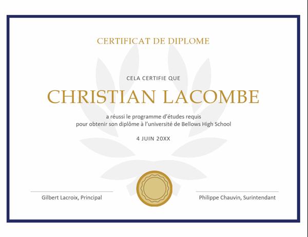 Certificat de diplôme