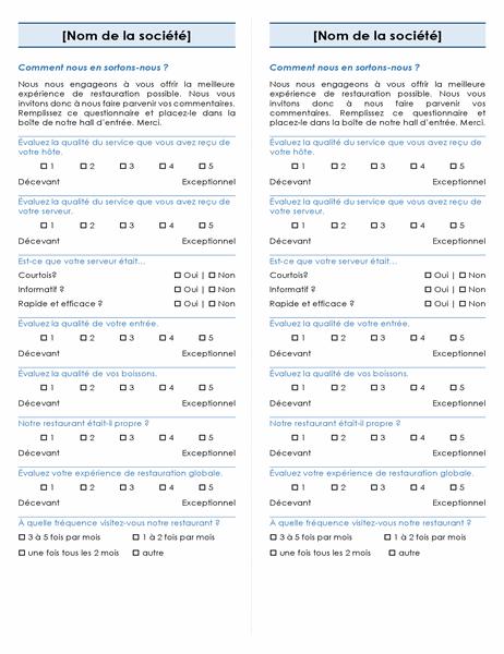 Enquête sur les restaurants (2 par page)