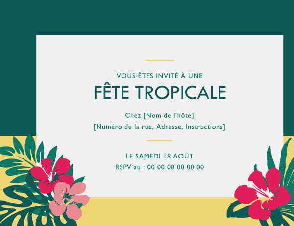 Invitation à une fête (motif tropical)