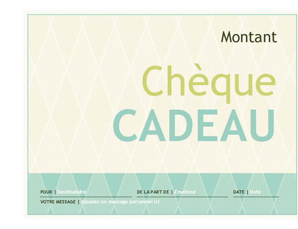 Chèque-cadeau (conception Arlequin)
