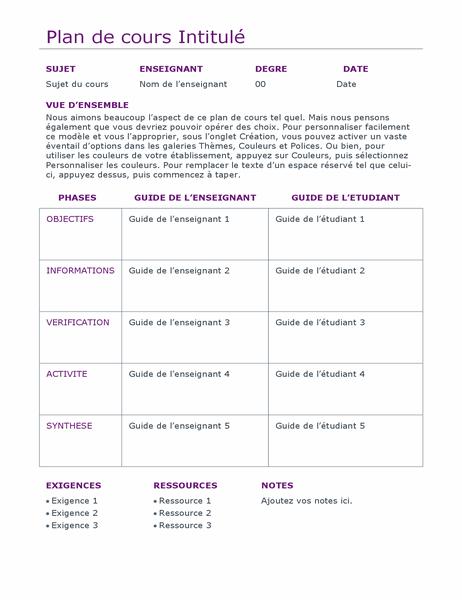Planificateur de cours quotidien (couleur)