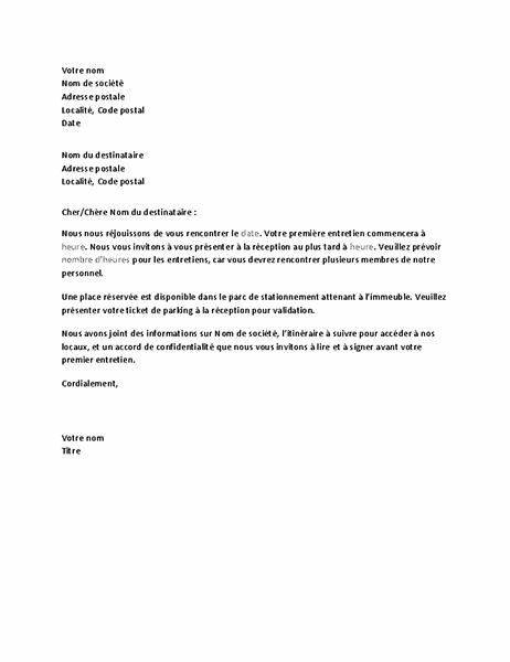 Lettre de confirmation d'entretien avec candidat