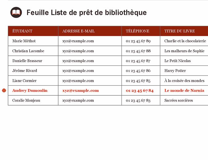 Feuille Liste de prêt de bibliothèque
