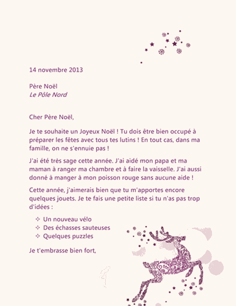 Lettre au Père Noël - Renne