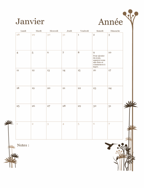 Calendrier sur 12mois avec illustration colibris (lun. – dim.)