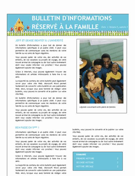 Bulletin d'informations réservé aux membres d'une famille