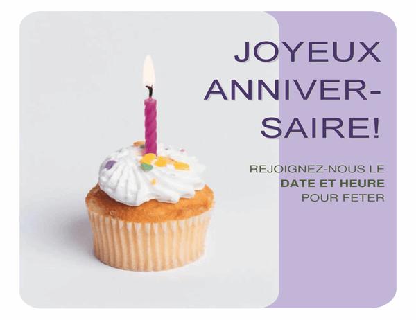 Prospectus d'invitation à anniversaire (avec un petit gâteau)