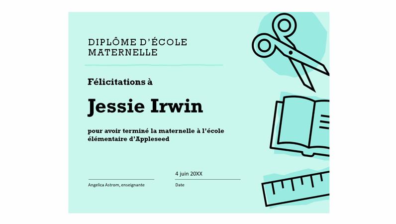 Certificat de diplôme d'école maternelle