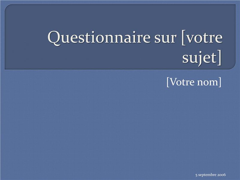Questionnaire à choix multiple (4 réponses)