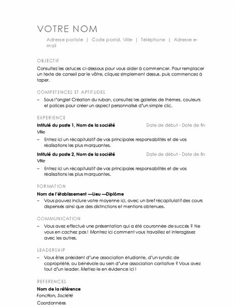 CV (conception Minimaliste)