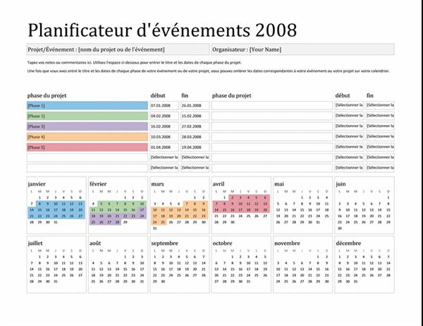 Planificateur d'événements 2008 (Lun-Dim)
