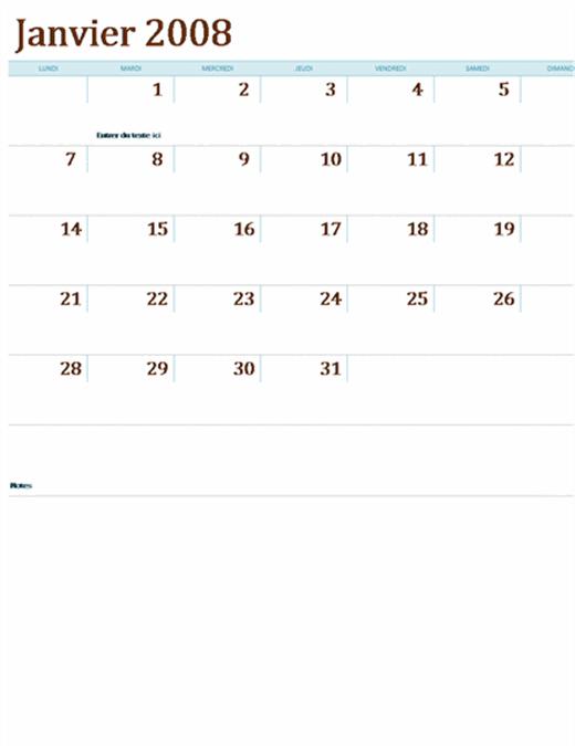 Calendrier 2008 sur plusieurs feuilles de calcul (12 pages, Lun-Dim)