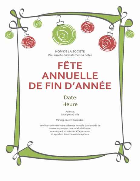 Invitation à une fête de jour férié avec décorations et bordure tourbillonnante (conception informelle)