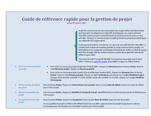 Guide de référence rapide pour la gestion de projet pour Project2007