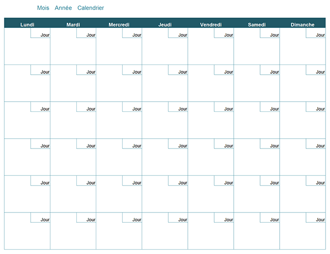 Calendrier mensuel vide